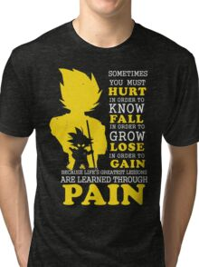 Must Hurt- Know Fall to grow Lose to Gain- Learn through Pain Tri-blend T-Shirt