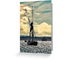 Sailing Barge Heading Into Portsmouth Greeting Card