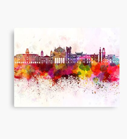 Trieste skyline in watercolor background Canvas Print