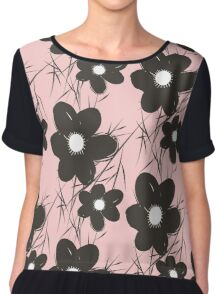 Abstract Flower Chiffon Top