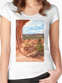 Through an Arch at Arches Women's Fitted Scoop T-Shirt
