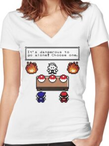 Dangerous to go alone choose a pokemon! Women's Fitted V-Neck T-Shirt