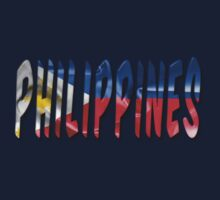 Philippines Word With Flag Texture Kids Tee