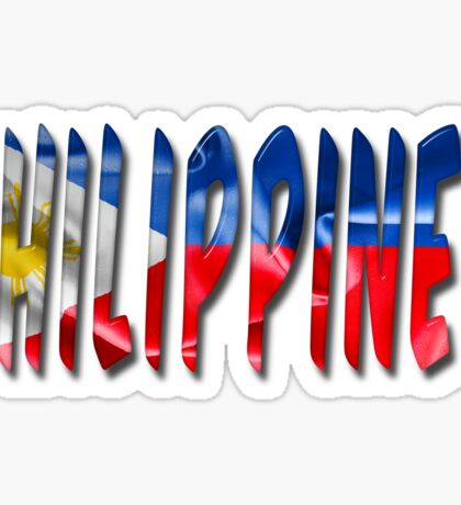 Philippines Word With Flag Texture Sticker