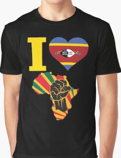I Love Africa Map Black Power Swaziland Flag Graphic T-Shirt