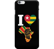 I Love Africa Map Black Power Togo Flag  iPhone Case/Skin