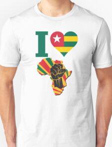 I Love Africa Map Black Power Togo Flag Unisex T-Shirt