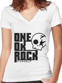 One Ok Rock with skull Black Women's Fitted V-Neck T-Shirt