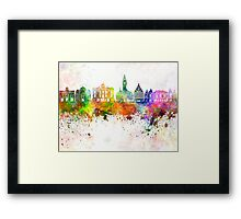 Lille skyline in watercolor background Framed Print