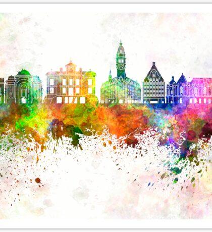 Lille skyline in watercolor background Sticker