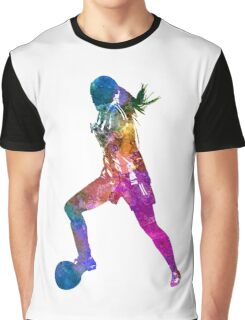 Girl playing soccer football player silhouette Graphic T-Shirt