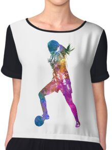 Girl playing soccer football player silhouette Chiffon Top