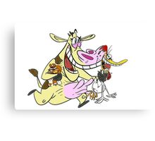 Cow and Chicken Canvas Print