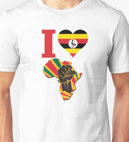 I Love Africa Map Black Power Uganda Flag Unisex T-Shirt