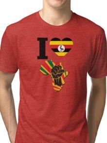 I Love Africa Map Black Power Uganda Flag Tri-blend T-Shirt