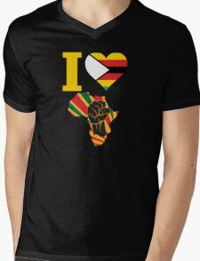 I Love Africa Map Black Power Zimbabwe Flag Mens V-Neck T-Shirt