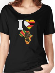 I Love Africa Map Black Power Zimbabwe Flag Women's Relaxed Fit T-Shirt