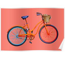 Old bicycle on peach echo ground Poster