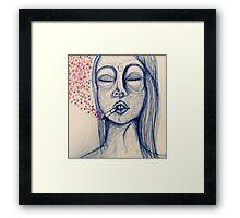 blue ink lady's mood Framed Print