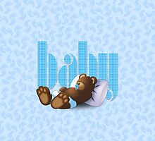 Sleeping Ted - Baby Blue by ifourdezign