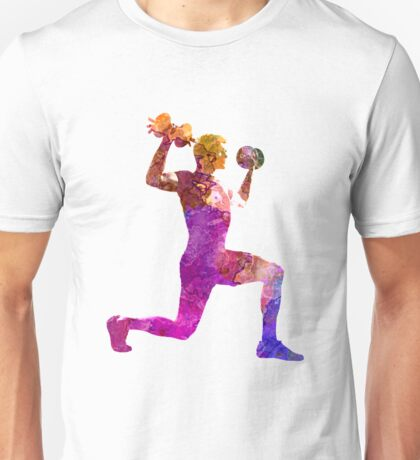 Man exercising weight training workout fitness Unisex T-Shirt