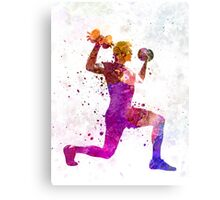Man exercising weight training workout fitness Canvas Print