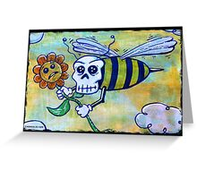 Bumble Skull Mixed Media Print Greeting Card