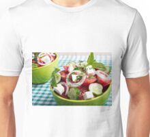 Useful vegetarian salad with raw tomatoes, cucumbers and onions Unisex T-Shirt