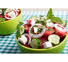 Useful vegetarian salad with raw tomatoes, cucumbers and onions Photographic Print
