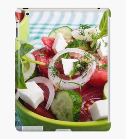 Useful vegetarian salad with raw tomatoes, cucumbers and onions iPad Case/Skin