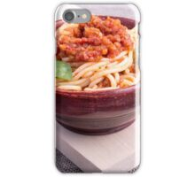 Cooked spaghetti in a brown small wooden bowl iPhone Case/Skin