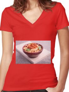 Cooked spaghetti in a brown small wooden bowl Women's Fitted V-Neck T-Shirt