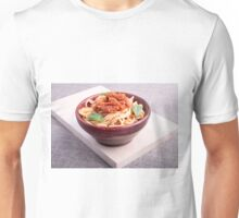 Cooked spaghetti in a brown small wooden bowl Unisex T-Shirt
