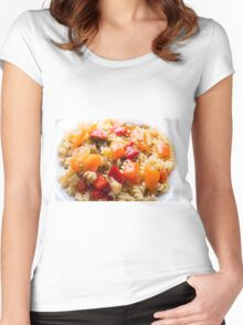 Italian pasta fusilli with vegetable ragout of peppers  Women's Fitted Scoop T-Shirt