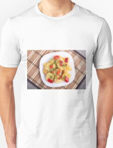 Top view of the pieces of potato stew with vegetables Unisex T-Shirt