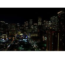 Downtown Houston at Night Photographic Print