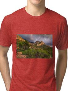 Bush tree and mountain under stormy skies Tri-blend T-Shirt