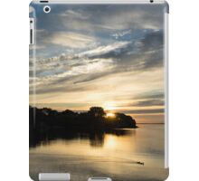 Pale Gold Sunrays - A Cloudy Sunrise with Two Ducks iPad Case/Skin