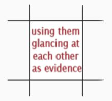 TJLC bingo tiles- 'using them glancing at each other as evidence' by 221brit