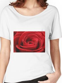 Close up of a beautiful red rose Women's Relaxed Fit T-Shirt