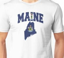 Maine Flag in Maine Map Unisex T-Shirt