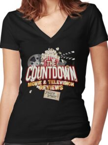 The Countdown Movie & TV Reviews Podcast Women's Fitted V-Neck T-Shirt