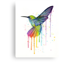 Rainbow Hummingbird Watercolor Canvas Print