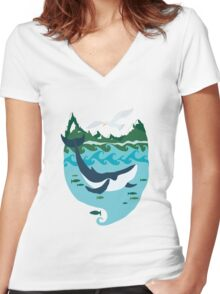 Whale tale Women's Fitted V-Neck T-Shirt