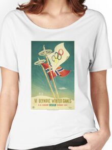Vintage 1952 Oslo Winter Olympics Poster Women's Relaxed Fit T-Shirt