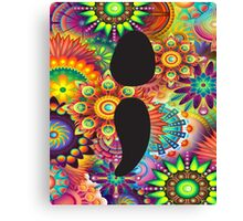 Mental Health Awareness Semi Colon Psychedelic Pattern Canvas Print