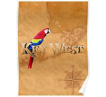 Key West And Map Poster