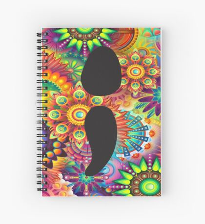 Mental Health Awareness Semi Colon Psychedelic Pattern Spiral Notebook