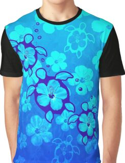 Blue Hibiscus And Honu Turtles Graphic T-Shirt