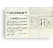 1912 Petition of Companion George Hall Bostick , Mt. Olivet Commandery No.30 Knights Templar Canvas Print